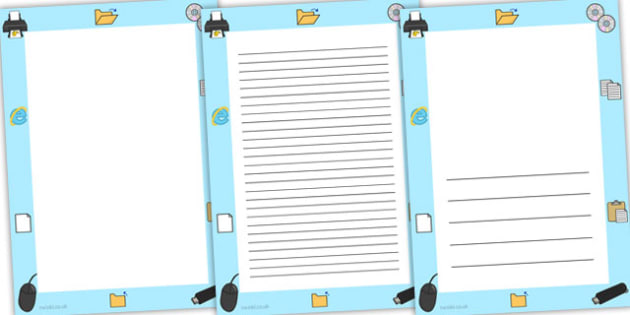 ICT Page Borders - ICT, IT, computers, writing template, borders