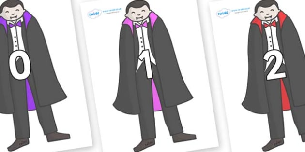 Numbers 0-100 on Vampires - 0-100, foundation stage numeracy, Number recognition, Number flashcards, counting, number frieze, Display numbers, number posters