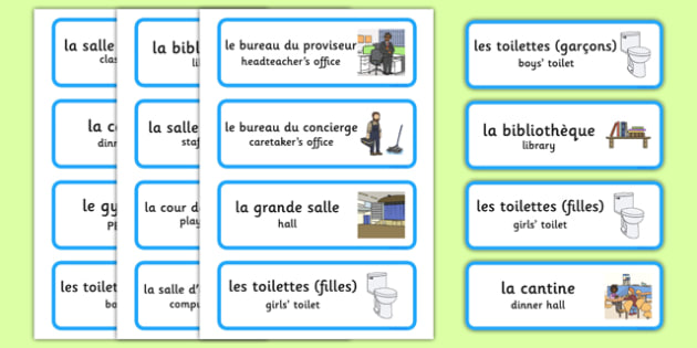 Places Around the School Labels French Translation - french, places around the school, places, school areas, labels, display