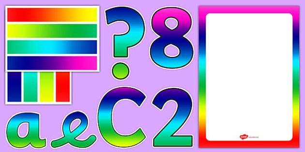 Rainbow Themed Complete Editable Display Pack - rainbow, complete, editable, display, pack