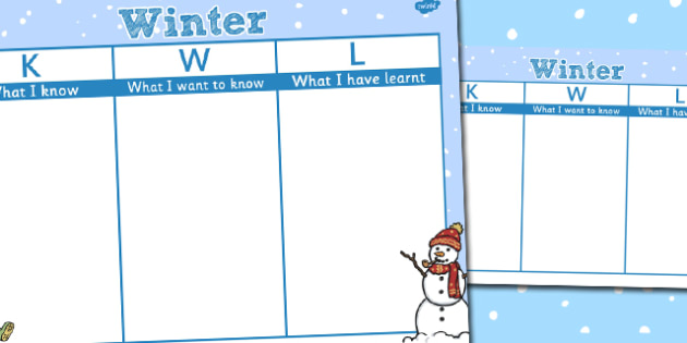 Winter Topic KWL Grid - KWL, Know, Learn, Want, Winter, Ice, Snow