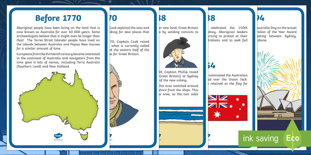 Australia Day Timeline Posters - australia, day, timeline, poster