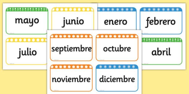 Tarjetas de vocabulario - Los meses del año - año, calendario, decoración, enero, febrero, marzo, abril, mayo, junio, julio, agosto, septiembre, setiembre, octubre, noviembre, diciembre