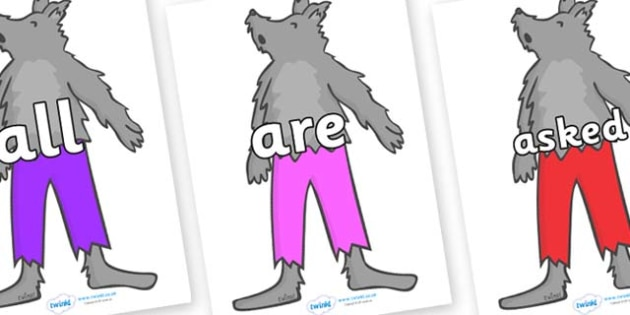 Tricky Words on Werewolf - Tricky words, DfES Letters and Sounds, Letters and sounds, display, words