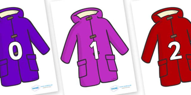 Numbers 0-31 on Coats - 0-31, foundation stage numeracy, Number recognition, Number flashcards, counting, number frieze, Display numbers, number posters