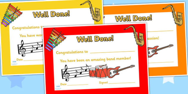 Band Certificates- band certificates, certificates, band, music, instrument, awards, club certificate, band club, music club, music certificate, band award