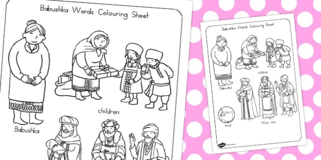 Babushka Words Colouring Sheet - australia, babushka, colouring