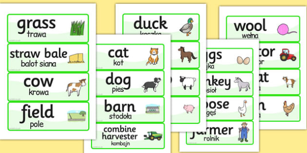 Farm Word Cards Polish Translation - farm, word cards, polish, cards