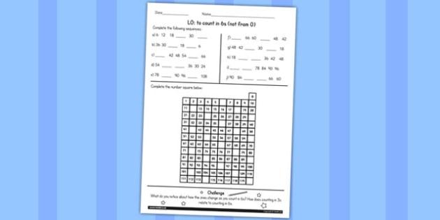 Counting in 6 Worksheet - counting, maths, 6, worksheet, ks2