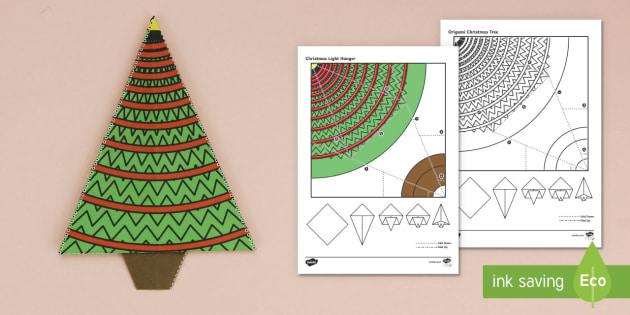 Simple Origami Christmas Tree Paper Craft - christmas party, paper craft, christmas hanger, paper craft, christmas