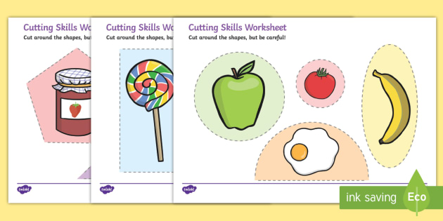 Food Themed Cutting Skills Worksheets - cut, fine motor skills