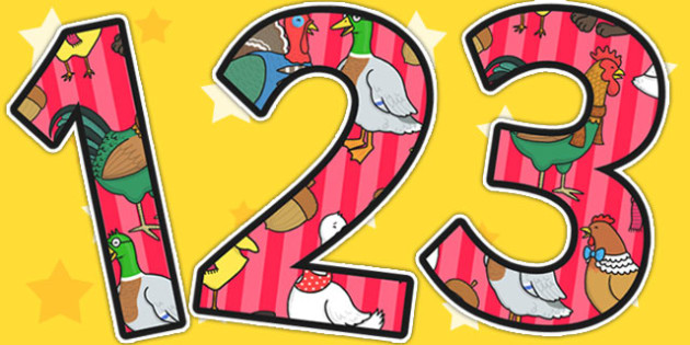 Chicken Licken Themed A4 Display Numbers - story books, numbers