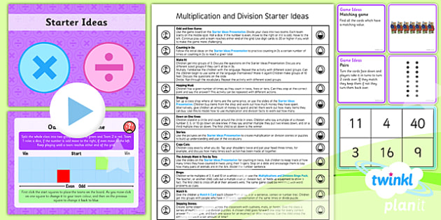 PlanIt Y1 Multiplication and Division Starter Ideas Pack - game, count in 2s,5s, 10s, M&O, mental and oral, starter, warm up