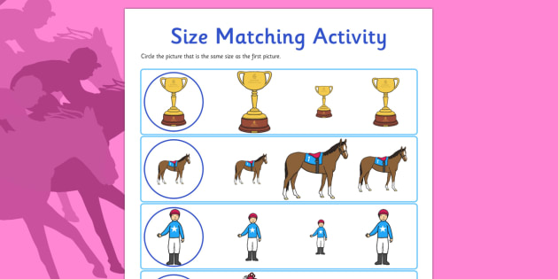 The Melbourne Cup Size Matching Worksheet - australia, melbourne cup, size matching