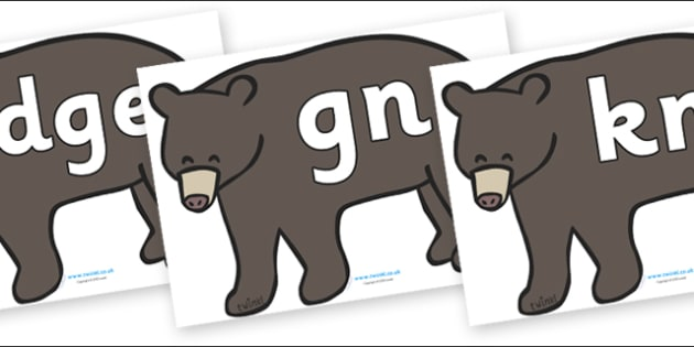 Silent Letters on Grizzly Bears - Silent Letters, silent letter, letter blend, consonant, consonants, digraph, trigraph, A-Z letters, literacy, alphabet, letters, alternative sounds