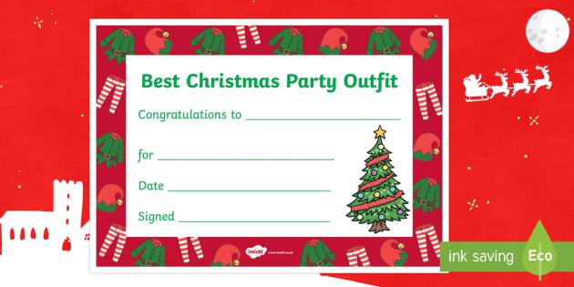 Best Christmas Party Outfit Certificate - Christmas, Nativity, Jesus, xmas, Xmas, Father Christmas, Santa, St Nic, Saint Nicholas, traditions