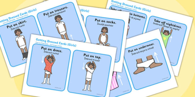 Getting Dressed Cards Girls Romanian Translation - romanian