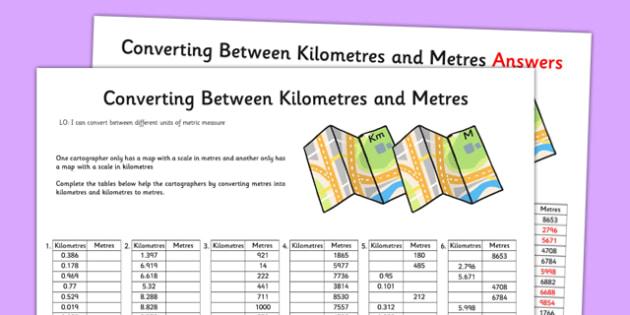 Converting Between Kilometres and Metres Activity Sheet - converting, kilometres, metres, activity, worksheet