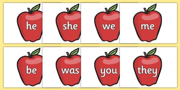 Phase 3 Tricky Words on Red Apples - phase 3, tricky words, red apples