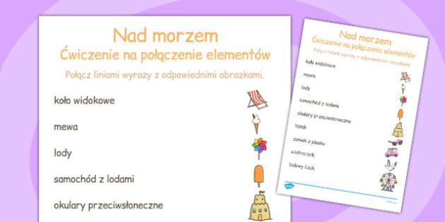 Cwiczenie na dopasowanie Nad morzem po polsku - edukacyjne , Polish