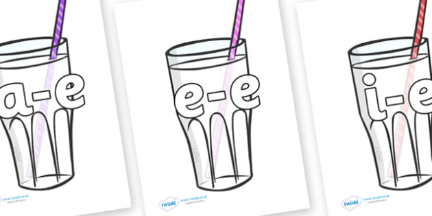 Modifying E Letters on Milkshakes - Modifying E, letters, modify, Phase 5, Phase five, alternative spellings for phonemes, DfES letters and Sounds