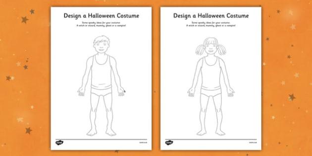 Design a Halloween Costume Activity Sheet - Design a Halloween Costume Worksheet, costume, design, worksheet, sheet, your own, Halloween, pumpkin, witch, bat, scary, black cat, mummy, grave stone, cauldron, broomstick, haunted house, potion, Hallowe'