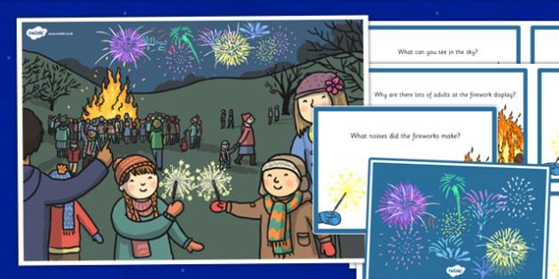 Bonfire Night Scene and Question Cards - bonfire night, scene, question, cards