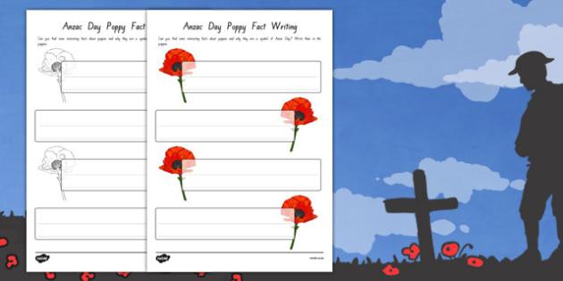 Anzac Day Poppy Fact Writing Templates - nz, new zealand, anzac day, poppy, fact, writing, templates