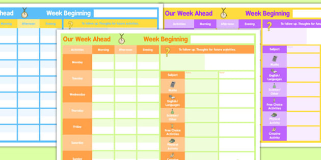 Weekly 2 Child Planner - planning, plans, charts, chart, week
