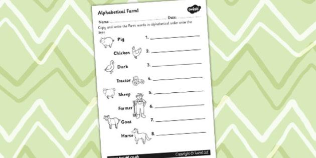 Farm Differentiated Alphabet Ordering Worksheet - a-z, order