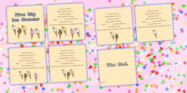 Five Big Ice Creams Counting Song Sequencing Cards- Ice, Cream, Song