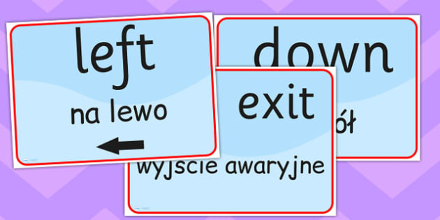 Directions and Safety Signs EAL Polish Version - languages, EAL