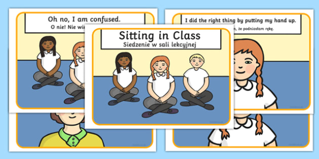 Social Story About Sitting in Class Polish Translation - polish, Behaviour management, self-awareness, self-calming, Autism, PSHE, SEN, social situations, social skills, story, stories
