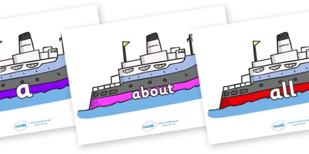 100 High Frequency Words on Boats - High frequency words, hfw, DfES Letters and Sounds, Letters and Sounds, display words