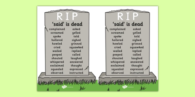 Said is Dead A5 - said is dead, alternative words for said, alternative words, display poster, word posters, alternative word poster