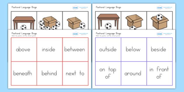 Positional Language Bingo - vocab, bingo, lotto, games, words