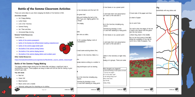 Battle of the Somme KS2 classroom activities