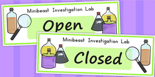 Minibeasts Investigation Lab Open Closed Signs - roleplay, sign