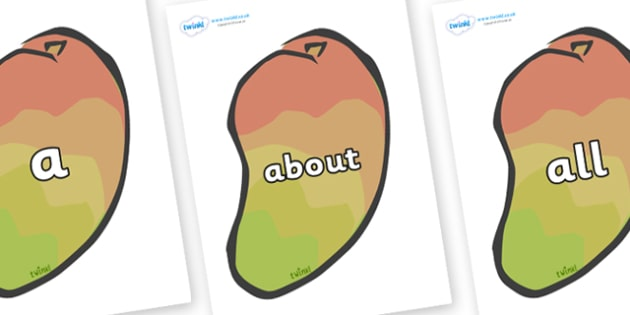 100 High Frequency Words on Mangoes - High frequency words, hfw, DfES Letters and Sounds, Letters and Sounds, display words