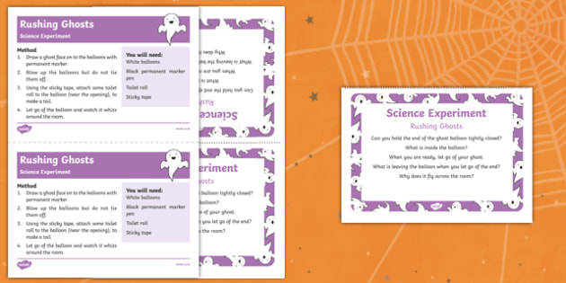 EYFS Rushing Ghosts Science Experiment and Prompt Card Pack