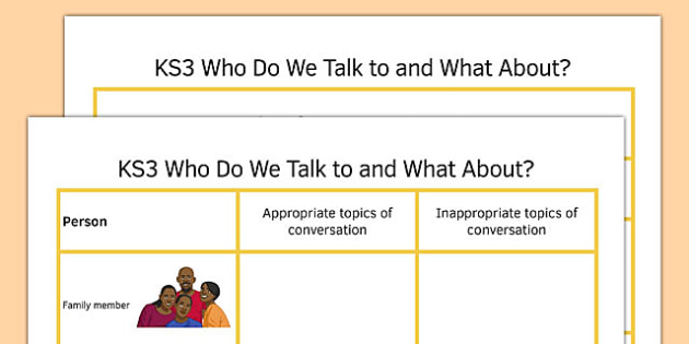 Who Do We Talk to and What About - who, talk, about what, communication
