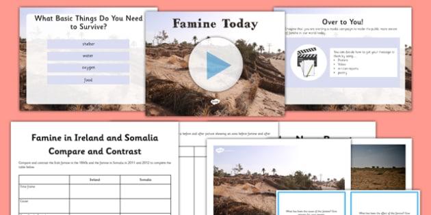 Famine Today Resource Pack - famine, modern, ireland, irish, ROI, somalia, compare, contrast, history, now, food, shortage, world, global