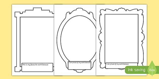 Work Description Picture Frames - work, description, picture, frames, picture frame, proud, best, favourite, describing, creative, writing, frames, writing frames, word cards, flashcards, template