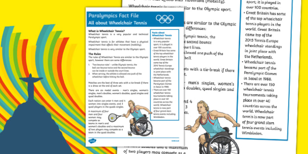 Rio Paralympics 2016: All About Wheelchair Tennis Fact File
