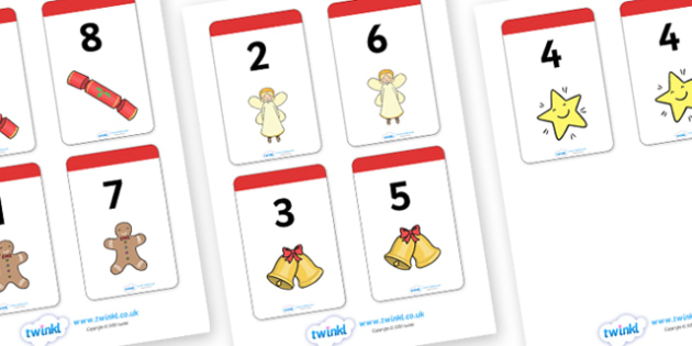 Christmas Themed Number Bonds to 8 Matching Cards - christmas