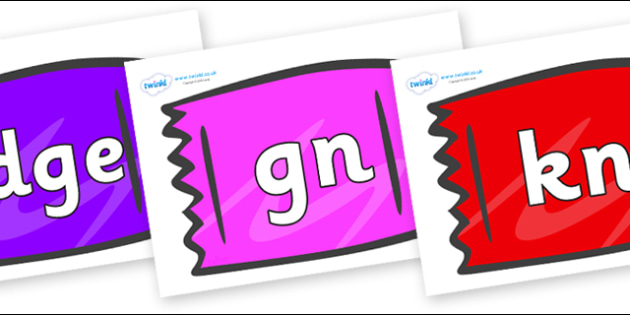 Silent Letters on Wrappers - Silent Letters, silent letter, letter blend, consonant, consonants, digraph, trigraph, A-Z letters, literacy, alphabet, letters, alternative sounds