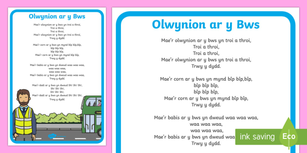 Wheels on the Bus Welsh Second Language Song Lyrics-Welsh - Welsh Second Language, Songs and Rhymes, Wheels on the Bus.,Welsh