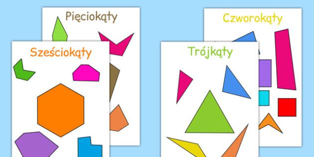 Materiały na gazetkę Figury geometryczne płaskie po polsku