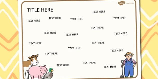 Farm Themed Editable Word Mat - literacy, words, writing, mats
