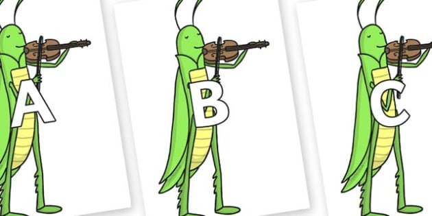 A-Z Alphabet on Grasshopper - A-Z, A4, display, Alphabet frieze, Display letters, Letter posters, A-Z letters, Alphabet flashcards